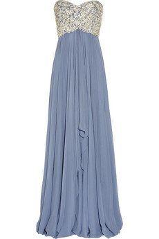 Marchesa|Embellished silk-chiffon strapless gown|NET-A-PORTER.COM