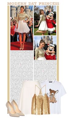 """#425 (Maria Menounos)"" by lauren1993 ❤ liked on Polyvore featuring Oris, Disney, Markus Lupfer, TIBI and Jimmy Choo"