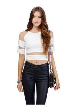 ac5ec9e0a0850 Mesh Splicing Crop Top In White - US 12.95 -YOINS Casual Outfits