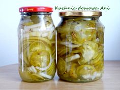 Kuchnia domowa Ani: Sałatka z zielonych pomidorów do słoików Green Tomatoes, Preserves, Pickles, Cucumber, Mason Jars, Cooking, Recipes, Food, Potato Salad