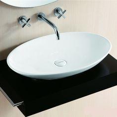 Lux Aqua Badmöbel Waschtisch Keramik Waschbecken Aufsatzbecken Oval 40148