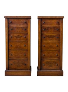 A piece of the countryside: Pair of English Victorian Wellington Burr Walnut Chests | The HighBoy | www.thehighboy.com