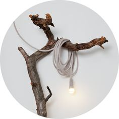 Cord hanging lamp 'Matt' designed by Llot llov Knitted with merino or Italian angora wool, very supple cable of 12m lenght, free-heat bulb sold at Serendipity's