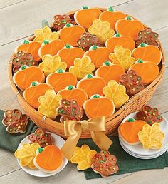 What a delicious gift idea for anyone on your list. Our pumpkin-shaped baskets arrive overflowing with individually wrapped, buttercream frosted pumpkin and leaf cut-out cookies – perfect for a large group! Leaf Cookies, Fall Cookies, Cut Out Cookies, Sugar Cookies, Cookie Frosting, Buttercream Frosting, Autumn Decorating, Cookie Decorating, Fall Decorated Cookies
