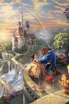 Thomas Kinkade Beauty and the Beast Arte Disney, Disney Magic, Disney Movies, Disney Pixar, Beautiful Love, My Love, Beauty And The Beast Movie, Im A Princess, Disney Princess