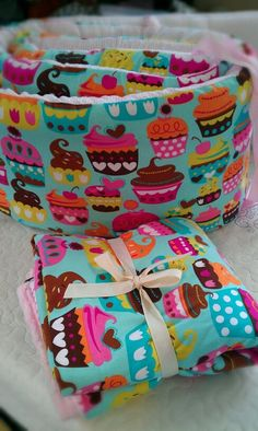 Custom cupcake bedding with bumper set  fitted by birdshaveflowers, $253.00