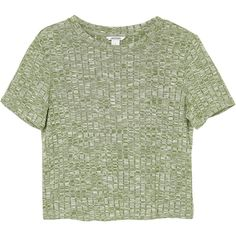 Monki Rosalita top (£15) ❤ liked on Polyvore featuring tops, t-shirts, crop, shirts, grassy knoll green, green shirt, green crop top, green tee, green top and ribbed t shirt