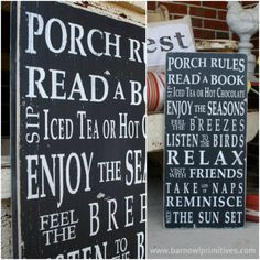 The Original Porch Rules Vintage Style Typography Word Art by barnowlprimitives