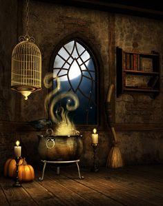 Halloween, All Hallows Eve, Trick or Treat, Witch, Goblin, Ghost, Black Cat, Bat, Skull, Ghouls, Scarecrow, Jack-O-Lantern, Pumpkin, Spooky, Scary, Haunting, Creepy, Frightening, Full Moon, Autumn, Fall, Magic Potion, Spells - free background by *moonchild-ljilja