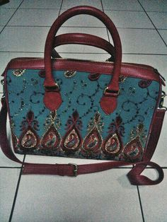 Tas wanita, kain sari india merah-hijau