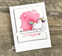 In The Cat Cave: a magical celebration Kids Cards, Baby Cards, Unicorn Images, Cat Cave, Wink Of Stella, Card Tricks, Stampin Up Catalog, Magic Cards, Beautiful Handmade Cards