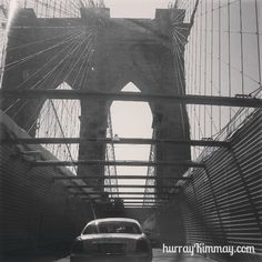 Crossing the Brooklyn Bridge on Hurray Kimmay // photo by Kim Caldwell #blackandwhite #photo #bridge #brooklyn #BrooklynBridge #NYC #photography #motivation