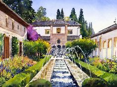 Patio De La Acequia Generalife Granada In Autumn Painting by Margaret Merry Watercolor Architecture, Watercolor Landscape, Watercolor Artwork, Watercolor Flowers, Watercolor City, Alhambra Spain, Batik Art, Autumn Lights, Autumn Painting