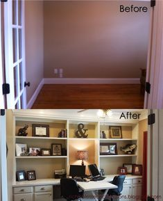 home office with built ins and cabinets - add baskets, boxes, magazine racks to top for better use of storage room - MUST DO!!