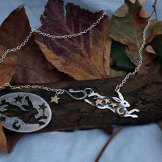The Hairy Growler Jewellery Co. Green Fields collection. The silver magical leaping hare necklace. Totally recycled and handmade from English silver coins. made in Cambridge, Hairy Growler.