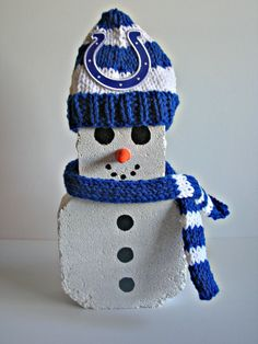 Indianapolis Colts Snowman with Cap & Scarf Football Decoration NFL Winter Green Bay Packers Dallas Cowboys