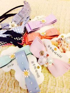 Hair barrettes and headbands from Korea.