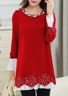 Metal Chain Embellished Red Puff Sleeve Blouse with cheap wholesale price, buy Metal Chain Embellished Red Puff Sleeve Blouse at Rotita.com !