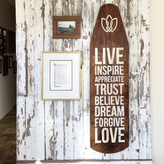 Live Inspire Appreciate Trust Believe Dream Forgive Love - reclaimed wood sign - antique ironing board