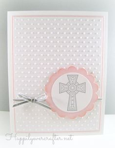 Girl Religious Cross Card, Girl Baptism Card, Christening Card, First Communion Card, Confirmation Card, Handmade Pink Cross Card