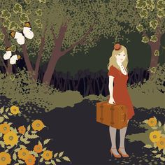 Mari Kartogi - girl in the woods with suitcase