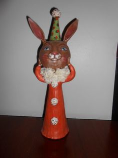 "BROWN BUNNY ON CONE BODY, 12"" tall. 2013 Original Debra Schoch piece.  Paper Clay Material."