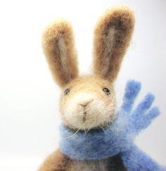 Needle Felted Rabbit , Celebration, Gift , Spring celebration,  Nature Scene Decoration , Waldorf Art
