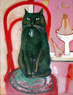 'Black Cat' by Russian artist Tatiana Gorshunova (b.1954). via Cats Fine Art