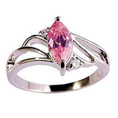 Psiroy 925 Sterling Silver Created Pink Topaz Filled Marquise Shaped Promise Ring