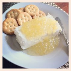 Uncle Gary's Gourmet Pepper Jelly on cream cheese with crackers