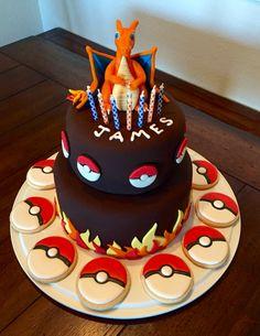 Charizard cake and cookies