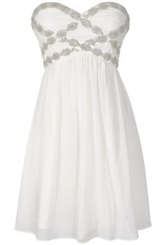 Sparkling Splendor Embellished Chiffon Designer Dress by Minuet in White
