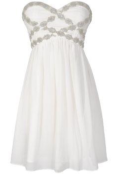 Sparkling Splendor Embellished Chiffon Designer Dress by Minuet in White