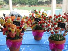 Food on a stick!  Lots of fun.  We had Caprese Salad, Fruit Salad, Tortellini Salad, Veggies and Antipasta Salad all on a stick!  An attempt at cupcakes on a stick was made, but gumdrops would've held them up on the stick.