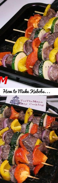 How to Make Kabobs in the Oven~Easy Beef Kebabs Recipe. Tags: how to make kabo. Kebab Recipes, Beef Recipes, Drink Recipes, Recipes Dinner, Super Healthy Recipes, Healthy Breakfast Recipes, Steaks, Party Food Meat, How To Cook Zucchini