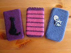 Virkattu kännykkäkotelo Sunglasses Case, Crafts For Kids, Textiles, Purses, Knitting, Crochet, Winter, Bags, Handarbeit