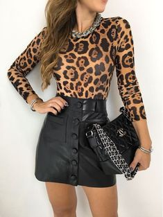 day date outfit Night Outfits, Sexy Outfits, Casual Outfits, Fashion Outfits, Young Fashion, Girl Fashion, Fashion Looks, Womens Fashion, Animal Print Outfits