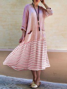 a035580b347 Vintage Stripe Patchwork Side Pockets Overhead Dress Robes Vintage