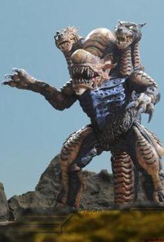 "Galberos (ガルベロス, Garuberosu) also known as ""Gelberos"" or ""Garubelos"" was a three-headed, somewhat dog or wolf-like space beast. First appearance: Ultraman Nexus episode 6: ""Relic"" http://ultra.wikia.com/wiki/Galberos"