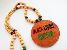 Black Lives Matter Jewelry BLM Necklace RBG Jewelry Wood Beaded African American Wooden Afrocentric BLM Black Power Black Pride by TheBlackerTheBerry