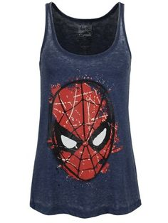 'Your Friendly Neighbourhood Spider-Man!' - This awesome vest in blue features the web swingers iconic mask in an awesome, sketchy design -…