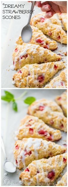 Perfect EASY Strawberry Scones; loaded with fresh strawberries and drizzled with sweet glaze @NatashasKitchen