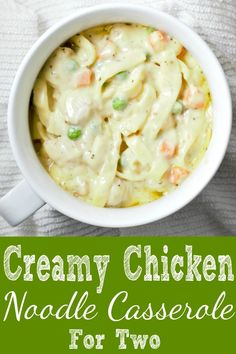 Creamy Chicken Noodle Casserole is the perfect delicious classic comfort food to warm your tummy on a cold day. This casserole is filled with diced chicken, peas, carrots, thick egg noodles, and cream Mug Recipes, Casserole Recipes, Cooking Recipes, Recipies, Baker Recipes, Cooking Bacon, Cooking Games, Casserole Dishes, Cooking For Two