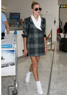 STYLECASTER | Hailey Baldwin Best Street Style Guide | green plaid blazer dress and white chunky high-top sneakers