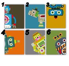 Robot Nursery Wall ArtSet of Three 8x10 prints by LittlePergola, $45.00