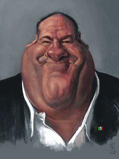 Genial caricatura del desaparecido actor de cine y televisión James Gandolfini…