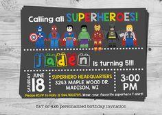 LEGO Superhero birthday invitation by TinyTotPrintables on Etsy