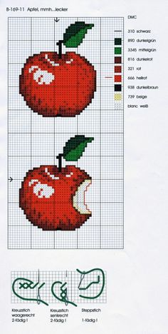 cuisine - kitchen - pomme - point de croix - cross stitch - Blog : http://broderiemimie44.canalblog.com/