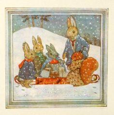 Christmas card. Made from a vintage Illustration. Snow Scene. Margaret Tempest Little Grey Rabbit