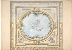 Design for a ceiling in rococo style with a trompe l'oeil oculus Jules-Edmond-Charles Lachaise (French, died 1897) Artist: Eugène-Pierre Gourdet (French, born Paris, 1820) Date: 19th century Medium: graphite, pen and ink, wash, watercolor, gouache, and gold paint Classification: Drawings MMA